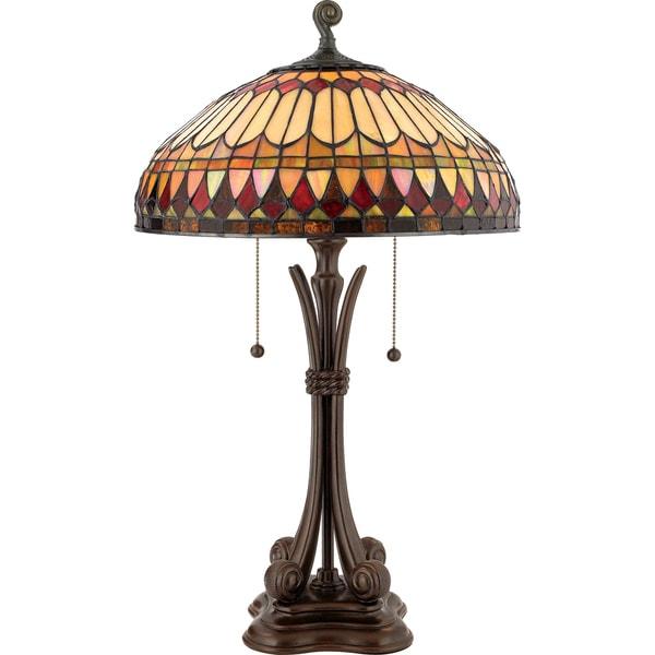 Tiffany-style West End with Brushed Bullion Finish Table Lamp