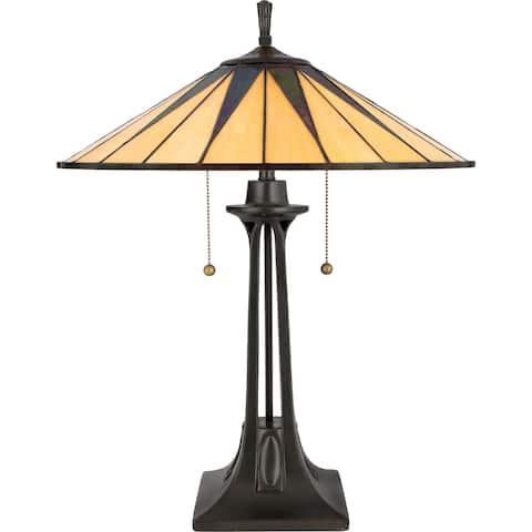 Quoizel Tiffany-style Gotham 2-light Vintage Bronze Table Lamp