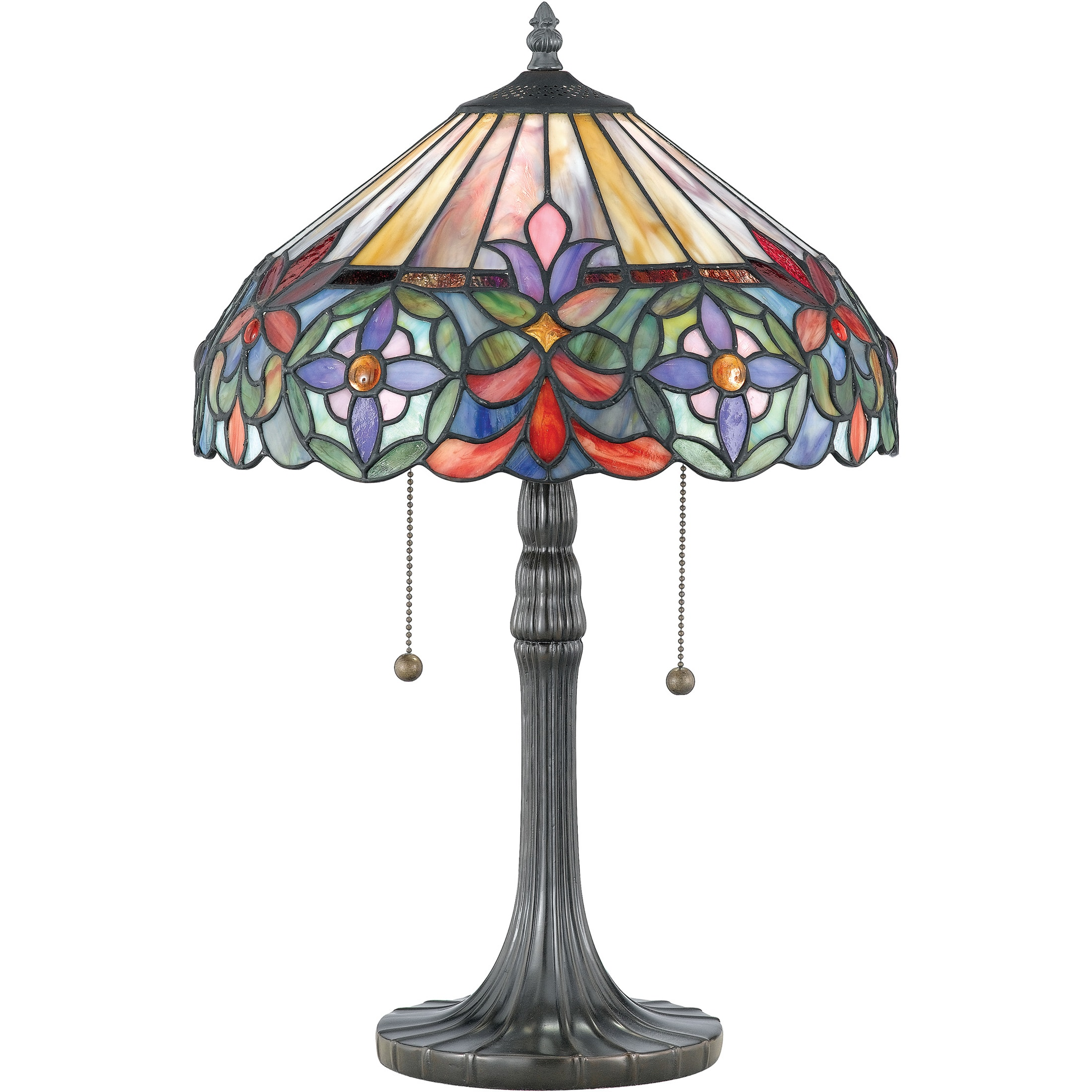 Quoizel Tiffany-style Connie with Vintage Bronze Finish Table Lamp