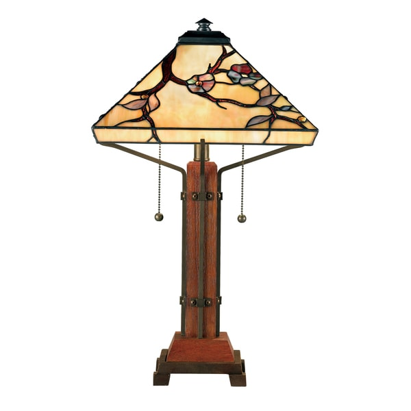 Quoizel Tiffany-style Grove Park with Multi Finish Table Lamp