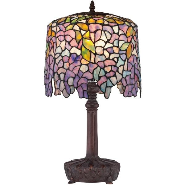 Tiffany-style Purple Wisteria 1-light Authentic Bronze Patina Desk Lamp