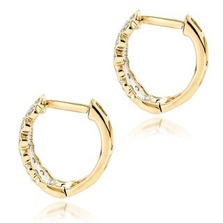 Luxurman 14K Gold 0.65ct Diamond Hoop Earrings