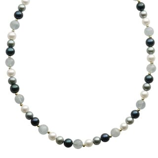 Pearls For You 14k Yellow Gold White/ Dyed Blue Freshwater Pearl and Gemstone Bead Necklace (7-8 mm)