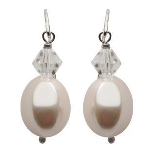 Pearls For You Sterling Silver Pink Baroque Shell Pearl and Chinese Crystal Dangle Earrings (10 x 12 mm)