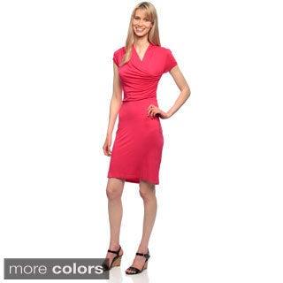 Amelia Women's Short-sleeve High-neck Asymmetrical Knit Dress