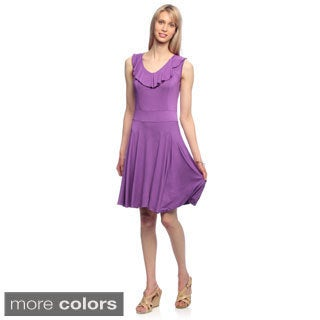 Amelia Women's Ruffle Neck Fit and Flair Sleeveless Knit Dress
