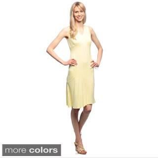 Amelia Women's Fitted V-neck Flair Hem Knit Dress