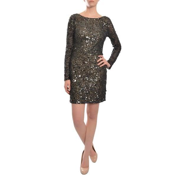 Aidan Mattox Women's Sparkling Long Sleeve Fitted Sequin Party Dress