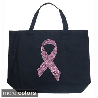 LA Pop Art Breast Cancer Ribbon Shopping Tote Bag