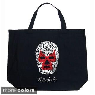 LA Pop Art Luchador Wrestling Mask Shopping Tote Bag (Option: Navy)