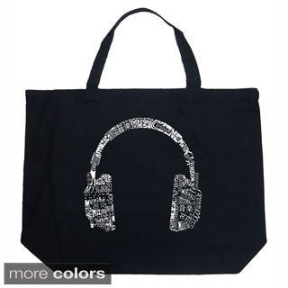 LA Pop Art Music Headphones Shopping Tote Bag