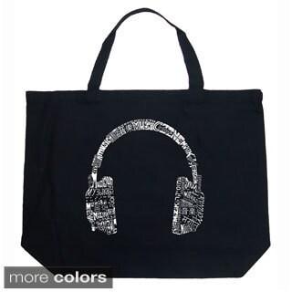 LA Pop Art Music Headphones Shopping Tote Bag