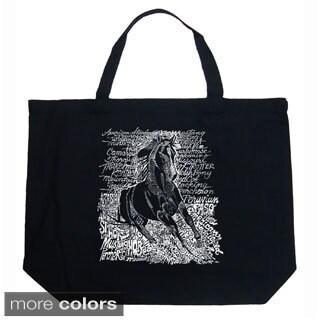 LA Pop Art Horse Breeds Shopping Tote Bag (Option: Navy)