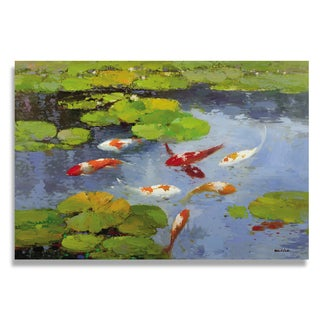 Wilson 'Koi Fish and Lotus in Pond' Gallery-wrapped Canvas Art