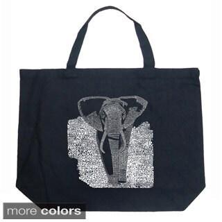 LA Pop Art Endangered Species Elephant Shopping Tote Bag (Option: Navy)