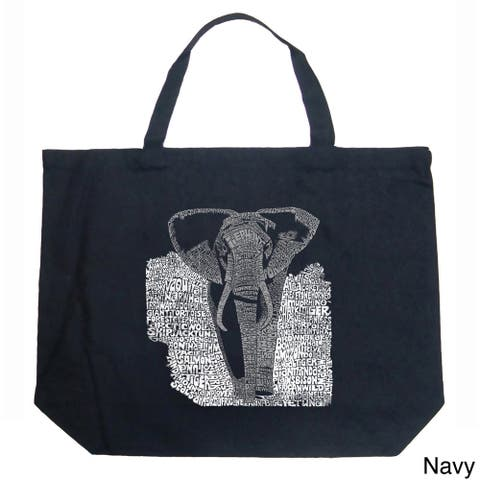 LA Pop Art Endangered Species Elephant Shopping Tote Bag