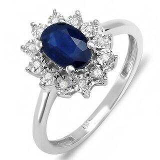Elora 10k White Gold 1/10ct TDW Diamond/ Blue Sapphire Royal-inspired Engagement Ring (I-J, I2-I3)