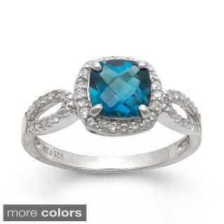 Gioelli Sterling Silver Cushion-cut Gemstone and Created White Sapphire Ring