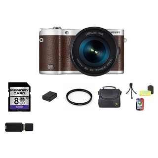 Samsung NX300M Mirrorless Brown Digital Camera Body with 18-55mm OIS Lens 8GB Bundle