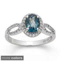 Gioelli Sterling Silver Oval-cut Gemstone and Created White Sapphire Ring