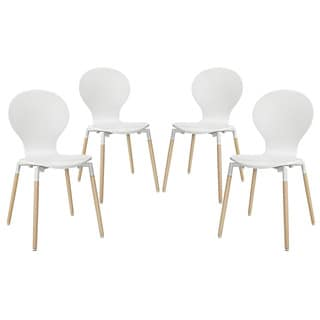 Path Beech Wood Dining Mid-century Style Chair (Set of 4) (White)