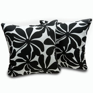 Black and White Twirl Decorative Throw Pillows (Set of 2)