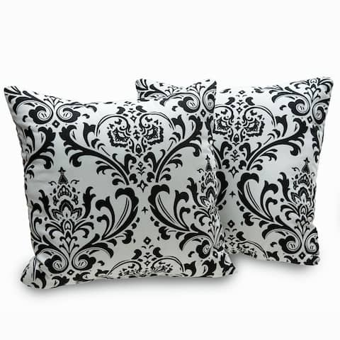 Arbor Black and White Damask Decorative Throw Pillows (Set of 2)