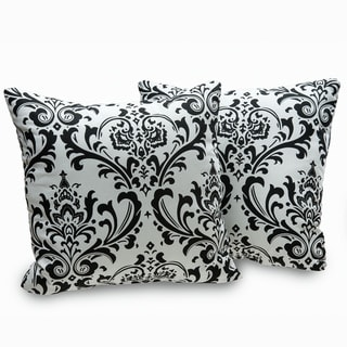 Arbor Black and White Damask Decorative Throw Pillows (Set of 2)