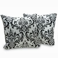 Arbor Black and White Cotton Damask Decorative Throw Pillows (Set of 2)