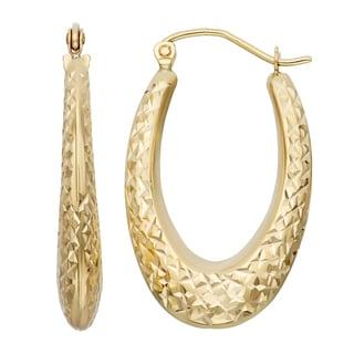 Gioelli 14k Gold Diamond-Cut Oval Hoop Earrings