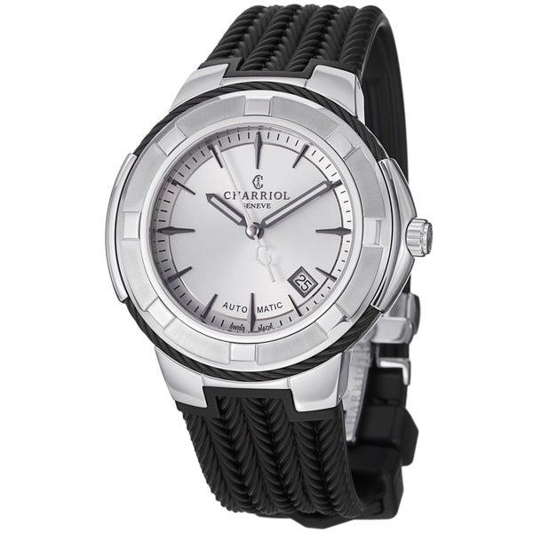 Charriol Men's CE443AB.173.003 'Celtica' Silver Dial Black Rubber Strap Watch