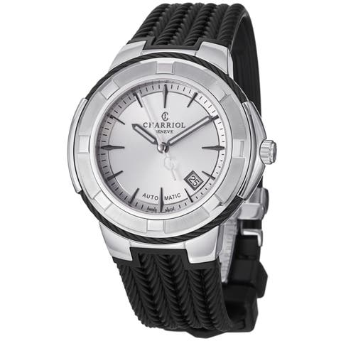 Charriol Men's CE443AB.173.003 'Celtica' Silver Dial Black Rubber Strap Watch