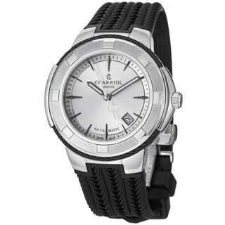 Charriol Men's 'Celtica' Silver Dial Black Rubber Strap Watch