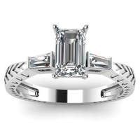 Fascinating Diamonds 14k White Gold 1/3CTtw White Emerald-cut Diamond Heirloom 3-stoneEngagement Rin