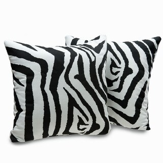 Zebra Print Decorative Throw Pillows (Set of 2)