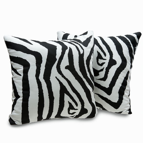 Zebra Print Decorative Throw Pillows (Set of 2)