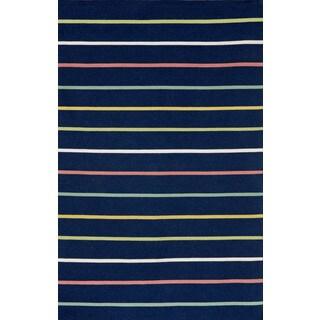 Colored Stripe Outdoor Area Rug (5' x 7'6)