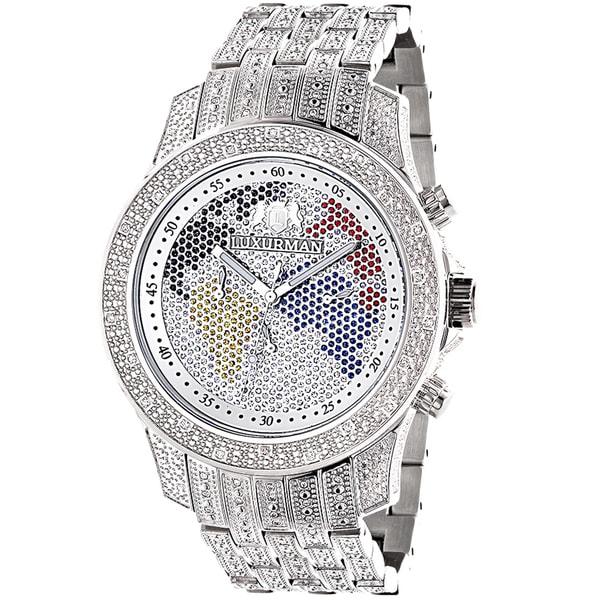 2b52e4c0e758 Luxurman Men  x27 S World Map Iced Out Diamond Watch Raptor Watch With Metal
