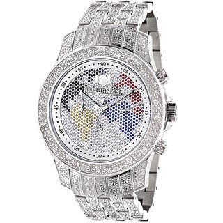 Luxurman Men's World Map Iced Out Diamond Watch Raptor Watch with Metal Band and Extra Leather Strap