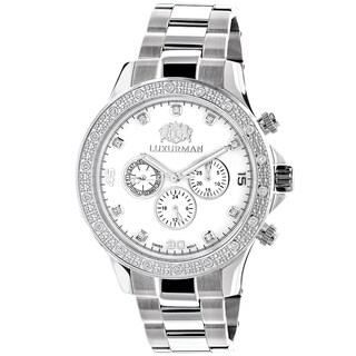 Luxurman Men'S Diamond 0.2Ct White Gold-Plated White Mop Liberty Watch With Metal Band And Extra Lea