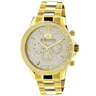 Luxurman Men's Liberty Diamond 0.2ct Yellow Gold-plated Watch with Metal Band and Extra Leather Stra