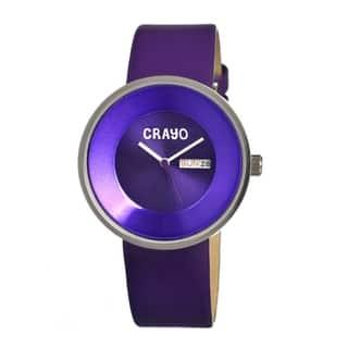 Crayo Men's Button Purple Leather Analog Watch|https://ak1.ostkcdn.com/images/products/8965824/Crayo-Mens-Button-Purple-Leather-Analog-Watch-P16175433.jpg?impolicy=medium