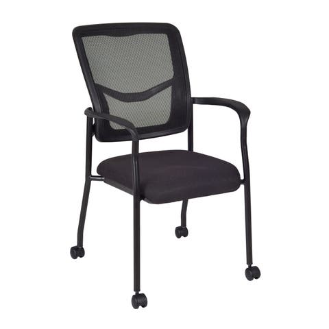 Kiera Black Mesh Caster Side Chair