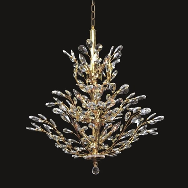 twiggy 13 light branch upside down clear crystal gold chandelier free shipping today. Black Bedroom Furniture Sets. Home Design Ideas