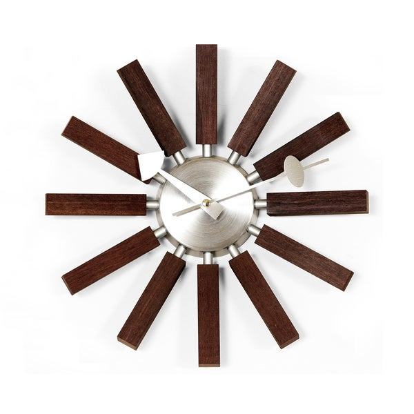 Hans Andersen Home Walnut Wooden Spokes Clock