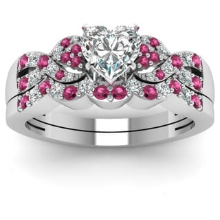 14k White Gold 1/2CTtw Heart Shape Diamond and Pink Sapphire Ring by Fascinating Diamonds (I, SI2, GIA)