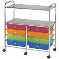 Blue Hills Studio Double Storage Cart W/8 Drawers-Multicolor