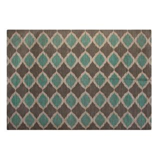Turquoise and Taupe Matrix Jute/ Cotton Printed Area Rug (5'x7')