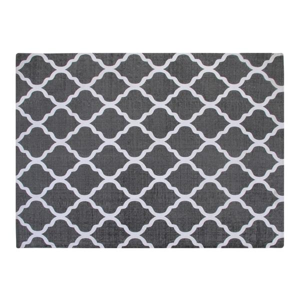 Chesapeake Cotton Printed Grey and White Quatrefoil Area Rug (5'x7') - 5' x 7'