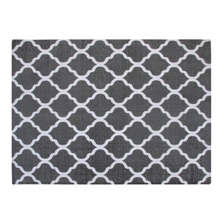Cotton Grey/ White Moroccan Area Rug (5'x7')